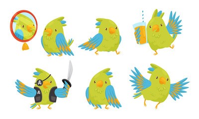 Cute Funny Parrot Cartoon Character Collection, Adorable Bird in Different Situations Vector Illustration