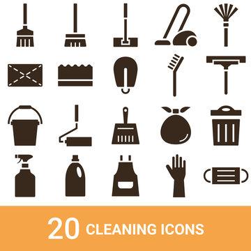 商品アイコン 掃除道具 シルエット 20セット