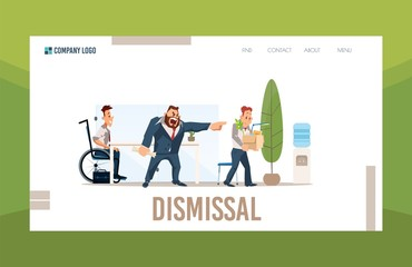Psychological, Lawyer Legal Consultation and Support in Case of Job Dismissal Trendy Flat Vector Web Banner, Landing Page Template. Disappointed Boss Firing Employee, Hiring New Worker Illustration
