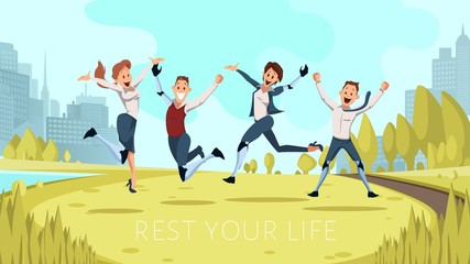 Happy and Positive Lifestyle of Disabled People Trendy Flat Vector Banner, Poster Template. Joyful Men, Women with Limbs Robotic Prosthesis Resting Having Fun in Park, Jumping on Meadow Illustration