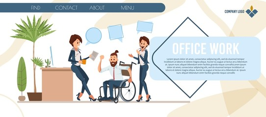 New Profession Professional Training for People with Disabilities Trendy Flat Vector Web Banner, Landing Page. Female Employees, Colleagues Greeting Man in Wheelchair with Job Promotion Illustration