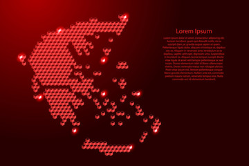 Greece map from 3D red cubes isometric abstract concept, square pattern, angular geometric shape, for banner, poster. Vector illustration. Wall mural