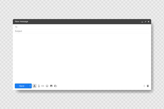 Blank window of Email, template vector illustration. Email message window. Modern flat style.