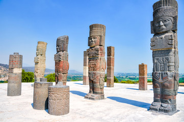 View of Pyramid of Quetzalcoatl with Toltec Warriors columns in ceremonial site Tula, Mexico