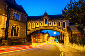 Illuminated Arch of the Christ Church Cathedral in Dublin, Ireland at night
