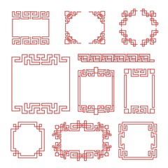 Chinese frames. Asian new year decorative traditional borders, oriental red line retro pattern for image frame in japanese vector set. Illustration chinese decoration border, decorative traditional