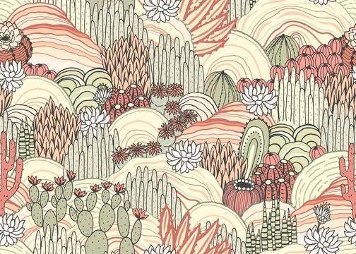 Cacti and succulents on outdoor, floral landscape, seamless pattern, environment. Vector hand drawn illustration in vintage style, colorful print.
