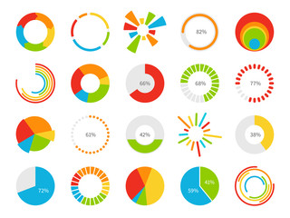 Pie charts. Graphic segmentation information circles, percentage statistic market, circular diagram for financial ui infographic vector set