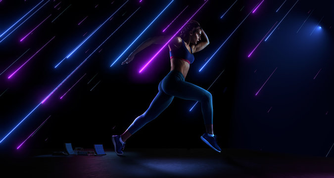 Sport backgrounds. Runner isolated on black. Dramatic magic scene with fallen neon stars.