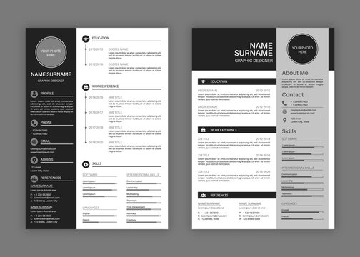 Cv templates. Professional resume letterhead, cover letter business layout job applications, personal description profile vector set