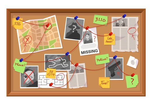 Investigation board. Crime evidence connections chart, pinned newspaper and photos. Research scheme on detective board vector concept