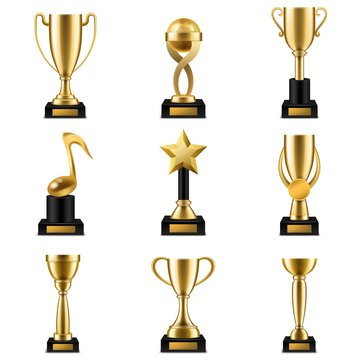Trophy cup. Realistic golden trophy cups and prize in different shapes, triumph champions, celebration sports winner awards vector set