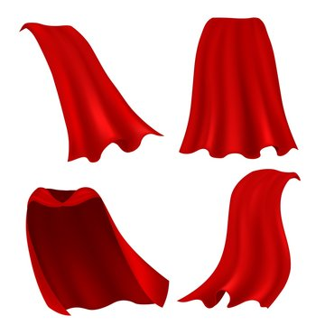Red cape. Realistic draped scarlet cloak front, side and back view, silk mantle model clothing, carnival costume accessories vector set