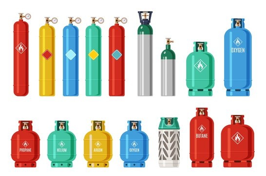 Gas cylinders. Lpg propane container, oxygen gas cylinder and canister. Fuel storage liquefied compressed gas high pressure vector set