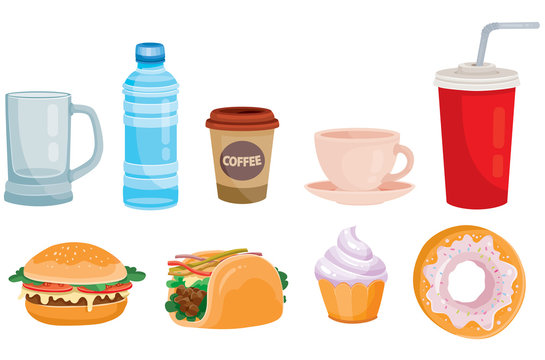 set of street food and drinks, coffee, hamburger, isolated object on a white background, vector illustration