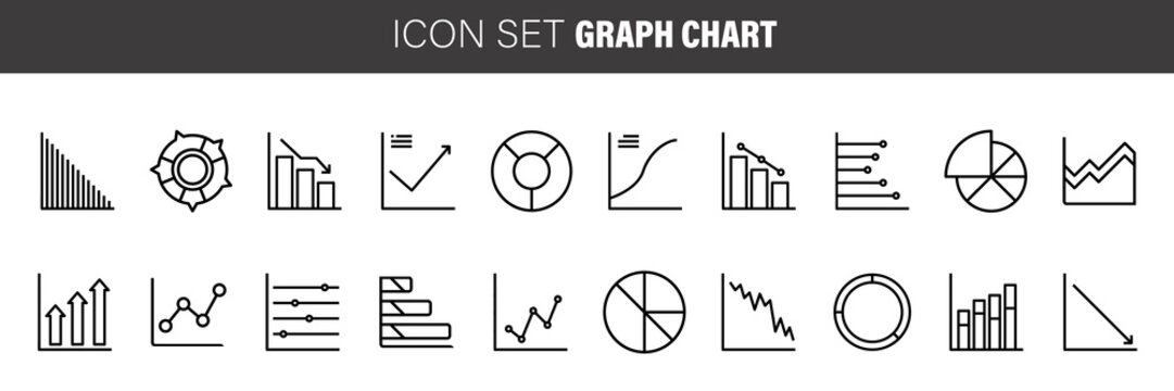 Business charts and data icons thin line art set. Black vector symbols isolated on white.
