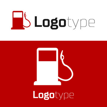 Red Petrol or Gas station icon isolated on white background. Car fuel symbol. Gasoline pump. Logo design template element. Vector Illustration