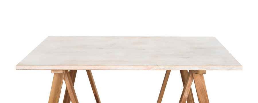 Handmade wooden table surface isolated on white for product display