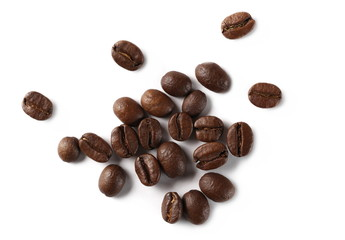 Poster de jardin Café en grains Coffee beans isolated on white background, top view