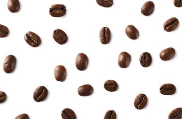 Coffee beans isolated on white background, top view