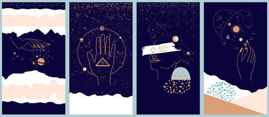 Obraz Collection of space and mysterious illustrations for Mobile App, Landing page, Web design in hand drawn style. Magic, occultism and astrology concept. Objects in the style of one line style. - fototapety do salonu