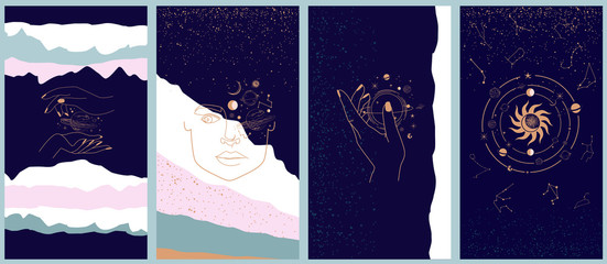 Collection of space and mysterious illustrations for Mobile App, Landing page, Web design in hand drawn style. Magic, occultism and astrology concept. Objects in the style of one line style. Fototapete