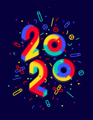 2020, Happy New Year. Greeting card with inscription Happy New Year 2020. Geometric memphis bright style for Happy New Year 2020 or Merry Christmas. Holiday background, poster. Vector Illustration