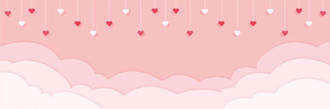 Valentinstag - Hintergrund in Papierschnitt, Wolken und Herzen hängen von der Decke Banner in pink