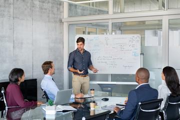 Obraz Leader giving presentation to business partners - fototapety do salonu