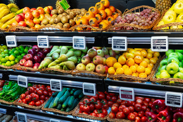 Vegetable and fruit section in supermarket