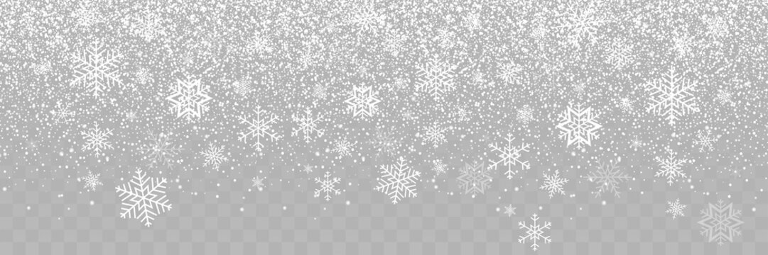 Falling Snow background. Snowfall on transparent background. Falling Snowflakes. Winter Christmas background. Realistic little Christmas Snow Panorama view. Snow with Snowflakes Christmas illustration