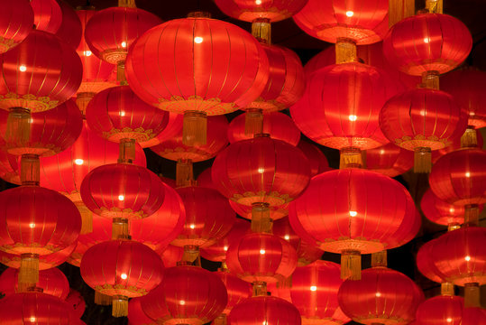Red Chinese lantern for mid autumn festival celebration