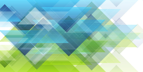 Wall Mural - Green and blue minimal triangles. Hi-tech abstract geometric background. Futuristic modern low poly composition. Vector art design