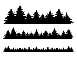 Foto auf AluDibond Weiß Forest vector shape set. Pine tree landscape collection, panorama. Hand drawn stylized black illustrations isolated on white background. Element for design christmas banner, poster