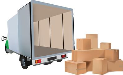 mezzo di trasporto furgonato con dei pacchi per la consegna