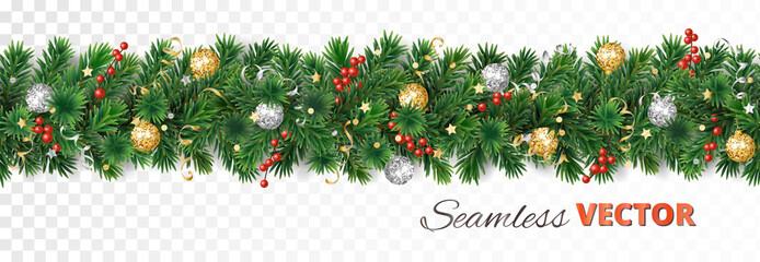Wall Mural - Vector Christmas decoration. Pine tree garland with ornaments