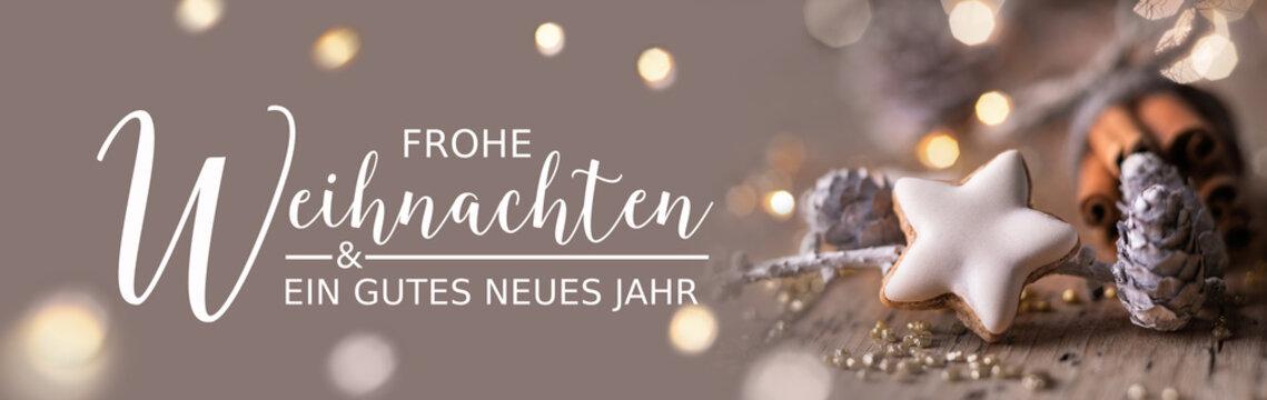 Weihnachtskarte, Weihnachtsgruß, Neujahrsgruß -  Frohe Weihnachten und ein gutes neues Jahr  -  Dekoration mit Zimtstern, Tannenzapfen und Zimtstangen - Banner, Header