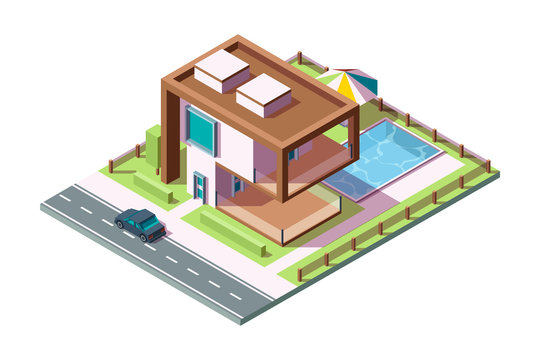 Modern private house. Luxury building residential exterior with grass car pool vector isometric home low poly 3d. Villa exterior house building, home architecture private illustration
