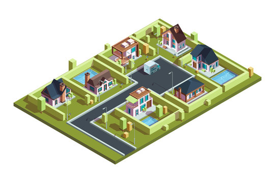 Cottage village isometric. Suburban modern residential houses townhouses in small town with infrastructure vector isometric map. Illustration 3d building isometric, city architecture
