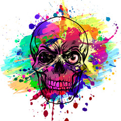 Abstract creative illustration with colorful skull for background