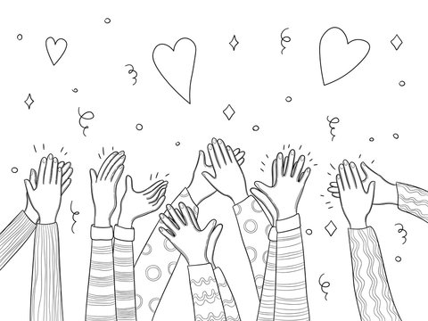 Applause hands. Crowd people handed applause fun vector sketch doodles collection. Illustration crowd audience, applause people