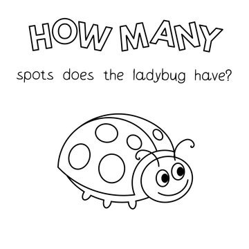 Cartoon Ladybug Counting Game Coloring Book