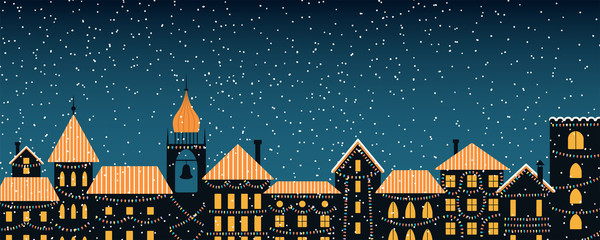 Türaufkleber Blau türkis Vector illustration of the winter city skyline, with colorful lights, falling snow, place for text. Flat style design. Concept for holiday, Christmas, New Year background, card, poster, banner.