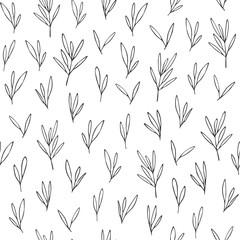 Fotobehang Boho Stijl Vector seamless pattern in Scandinavian style with leaves