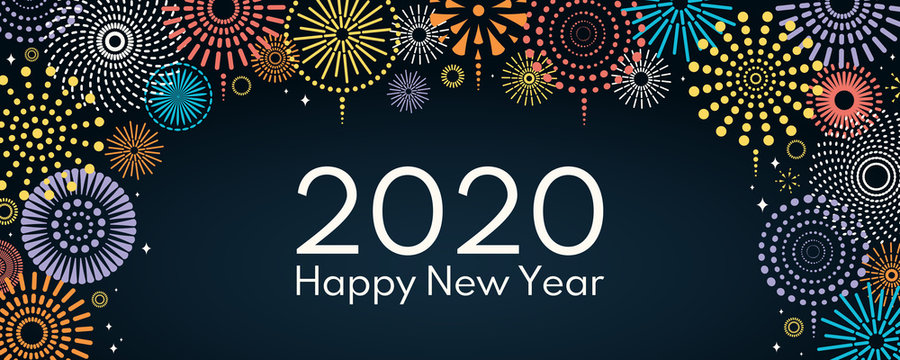 Vector illustration with bright colorful fireworks on a dark blue background, text 2020 Happy New Year. Flat style design. Concept for holiday celebration, greeting card, poster, banner, flyer.