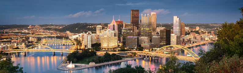 Pittsburgh skyline by night Wall mural