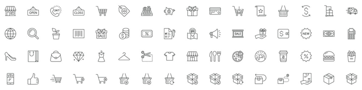 SHOPPING vs E-COMMERCE line thin icons set. Vector illustrations collection EPS10.