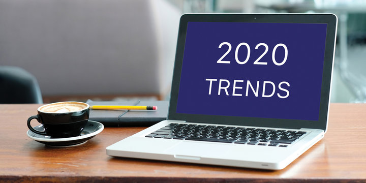 2020 trends, Laptop computer with 2020 trends on screen background, digital marketing, business and technology concept
