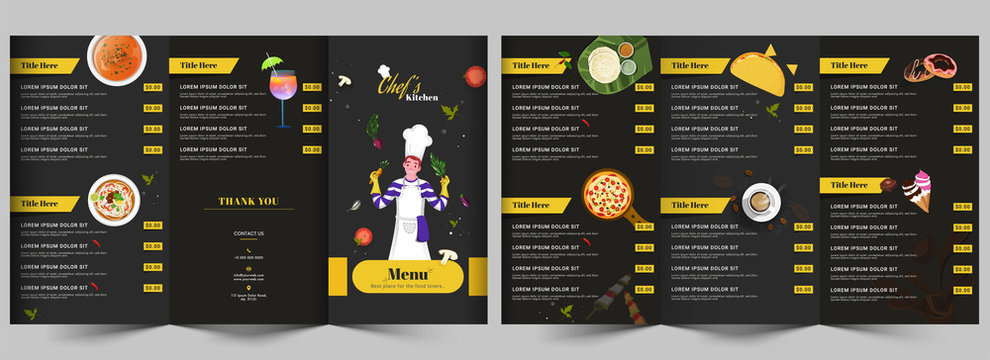 Chef's Kitchen Menu Card Layout with Different Delicious Food and Dessert for Restaurant.