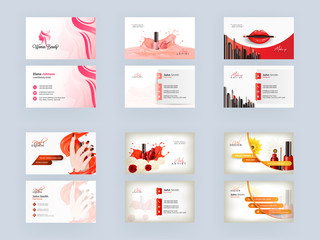 Front and Back View of Business Card or Visiting Card Set for Women Beauty, Nail Artist, Makeup Artist.